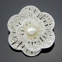 anchor glass ruby - classic high grade crystal rhinestone brooch silver K gold plated pearl brooch bouquet bridal jewelry accessories wedding