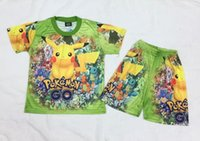 Wholesale poke Children Clothing Sets New Cartoon Printed Shorts Sleeve T shirt Shorts Summer Fashion Kids Outfit Cute Boys Girls Suits N014