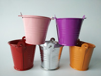 Wholesale Mixed colors small easter egg pots cheap tin pails mini pails metal bucket candy pail package for decoration