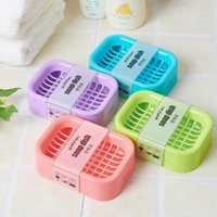 Wholesale Bath Creative Double draining soap holder Non slip Soap dish soap box Home Garden Random Color