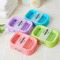 Wholesale Bath Creative Double draining soap holder Non slip Soap dish soap box Home Garden Random Color