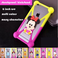 Wholesale Universal Silicone Case D Cartoon Characters kickstand Bumper Frame cases for iPhone S Plus Samsung S6 s7 edge lg xiaomi htc huawei