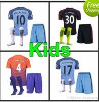 Wholesale 16 new Manchester City kids Jerseys DZEKO KUN AGUERO KOMPANY TOURE YAYA DE BRUYNE Home Away kits Shirt