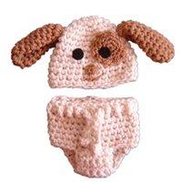 baby dog photos - Newborn Puppy Costume Handmade Knit Crochet Baby Boy Girl Dog Hat Diaper Cover Set Animal Halloween Costume Infant Photo Props Shower Gift