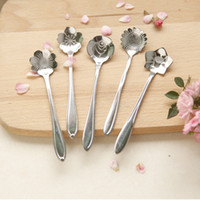 Wholesale Tableware Flower Shape Sugar Stainless Steel Silver Tea Coffee Spoon Teaspoons Ice Cream Flatware Kitchen Tool Best Price