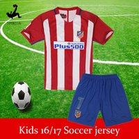 Wholesale 2016 Atletico Madrid Soccer Jersey kids set Griezmann Fernando Torres Camisetas de Futbol Koke Gabi Jackson Home Away Football Shirt