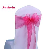 Wholesale PC Pack New Organza Chair Sahses Bow Wedding Event Supplies Party decor Colors Organza Pew Chair Bows of Home Outdoor