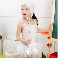 Cheap Retail Girls Bathing Suits Kids Swimsuits Baby Girls Boutique Kids Swimwear Swan Tulle Tutu Skirt Swim Wear Suspender Infant Girls Beachwear