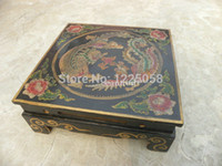 Wholesale cheap Rare China Painting Wood Dragon Phoenix Design Coffee Table