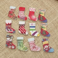 Wholesale Hot Sale New Cute Wooden Santa Christmas Socks Stocking Buttons Doll Sewing Craft Decor