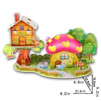 Wholesale New Educational Toys Children Puzzle Jigsaw D DIY Lovely Paper Castles Houses Kids Puzzle Game Educations for Kids IQ Trainer