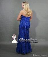 Wholesale Circelee New Fashion Real Sample Sweetheart Mermaid Royal Blue Chiffon Long Evening Dress Rhinestone Prom Dresses