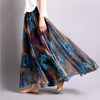Wholesale New Fashion Spring Summer Print Long Skirts women chiffon maxi skirt A Line put on a large Skirt high quality