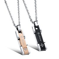allergy card - Titanium lovers Pendant Necklace diamond square card student couple accessories anti allergy Pendant N1046
