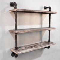 Wholesale Bathroom Storage Book Pipeshelf DIY Industrial Retro Wall Mount Pipe Bookcase Industrial Vintage Iron Pipe Three Tier Metal Bookcase