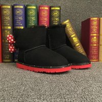 Wholesale Lovely Kids Snow Boots Suede Slip on Flat Boots with Round Toe Solid Bow Boots for Girls and Boys C004