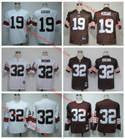 Wholesale 100 Stitiched high quality Cleveland jerseys Browns Jim Brown Bernie Kosar Throwback jerseys for mens
