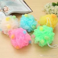 Wholesale candy colorful bath ball pull back bath flower nylon bath sponge pull back take a shower random color