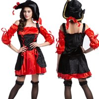 adult pirate hat - New Red Pirate Costume women adult party halloween costumes for women Sexy matador Pirate captain cosplay Costume with hat