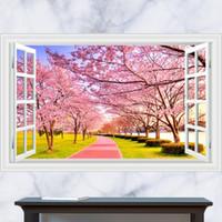 art meadows - 3D Generic Windows Meadows Park Cherry Blossoms Tree Wall Decal Decor Sticker kindergarten living room vinyl Inspiration art