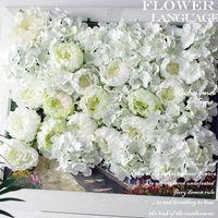 background displays - artificial peony flower heads silk decorative flower DIY Road led wedding flower Bouquet hotel background wall decor