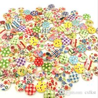 Wholesale 15mm Mixed Round Pattern Holes Wood Buttons Sewing Scrapbooking Hot Sales Brand New Good Quality