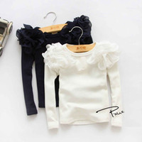 Wholesale Kids Girls Puff Sleeve Shirts Spring Fall Ruffles Princess Party Tops Candy Color Long Sleeve Cotton Blouse