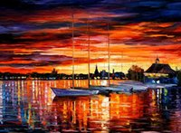 abstract sailboat paintings - Hand painted PALETTE KNIFE wall art home decorative abstract oil painting on canvas Leonid Afremov Helsinki Sailboats At x36inch Unframed