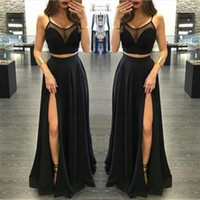 Wholesale High Side Split Prom Dresses Black Spaghtti Straps Sheer neck Chiffon Long Women Skirts two piece Formal Party Evening Gowns