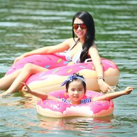 Wholesale 2 Colors Donut Swimming Float cm Inflatable Swimming Ring Swimming pool Life buoy Beach Toys Summer toys
