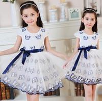 Wholesale 2016 Wonderful Girls Cap Sleeve Dress D Butterfly Childrens Fashion Clothing Girls Pretty Princess Dress Girls Party Dress K7768