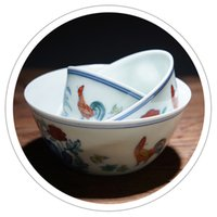 Wholesale 2pcs Hand painted Porcelain Tea Cup With Chicken Design In Contrasting Colors Jingdezhen Ceramic Tea Cup Ceramic Blue And White Bowl Kong Fu