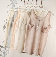 Wholesale Fashion Women Summer Sleeveless O Neck Solid Loose Casual Cotton Linen Strap T Shirt Vest Tee Top Brand New Good Quality