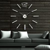 Wholesale Super Deals inch Modern D Mirror Wall Clock DIY Room Home Decor Bell Cool Mirror Sticker Big watch
