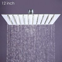 Wholesale 12 inch Ultra thin Square Stainless Steel Rainfall Shower Head Top Shower For Home Romantic LED Bathroom Shower Head Sprinkler lt no track
