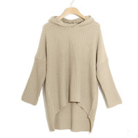 batwing sweater dress - Batwing Sleeve Long Hooded Kintted Sweaters Women Autumn Winter Loose Pullover Oversized Knit Top Sweater Dress