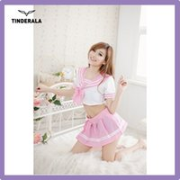baby girl uniform - schoolgirl costume Costume white V NECK PINK sexy baby costume for adults sexy dance free size For Cute Girls