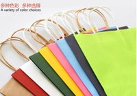 Cheap Wholesale-100pcs Reusable shopping bag mix colors Kraft paper Gift bag with handle Small size  Excellent Quality Wholesale OEM Gift bag