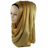al por mayor bufandas brillantes-Hijab musulmán 1/4 brillo Shimmer brillo Lurex 3/4 bufandas viscosa lisa Hijabs Shawls envolver 175 * 65 cm phwj01