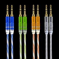 Wholesale 3 mm Stereo Audio AUX Cable Dual Color Wire Auxiliary Cords Jack Male To Male M M M FT For Iphone Samsung Mobile Phone DHL CAB120