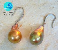 Wholesale large golden purple freshwater baroque pearl dangle earrings with s925 simple designs for