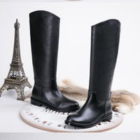 australia luxury boots - australia Brand Designer womans boots winter fashion Luxury Genuine Leather thigh high boots flat black Motorcycle boots