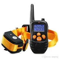 Wholesale Newest Yards Rechargeable Weatherproof Dog Training Collar Electric Shock Vibra LCD Remote for Large Medium Large Dogs Pet Orange DHL