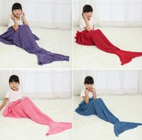 Wholesale 140x70cm Colors Children Fashion Knitted Mermaid Tail Blanket Super Soft Warmer Blanket Bed Sleeping Costume Air condition Knit Blanket