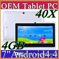Wholesale 40X DHLcheap tablets inch MB RAM GB ROM A33 Quad Core Tablet Allwinner Android Capacitive WIFI Dual Camera facebook Q88 A PB