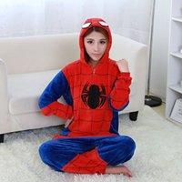 Wholesale Spider man Pajamas For Women Cartoon Onesies Pajama One Piece Pijamas Mujer Pyjama Femme Polar Fleece Pajamas Pyjamas Spider man