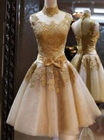 Wholesale Charming Homecoming Dresses Gold Lace High Neck Sleeveless With Bow Waist Short Prom Gown Cocktail Party Dresses