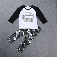 american buses - 2016 INS Baby clothing Boy clothing Bus T shirt Long sleeve camo Pant Kids Toddler set Spring autumn Children Outfits Clothes