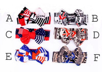 baby headbands uk - New Baby American Flag Headband Kids Hair Accessories th of July Independence Day Knotted Headband with Gair Bow styles USA UK Flag print