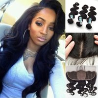 Wholesale Brazilian Body Wave Silk Base Lace Frontal Closure With Bundles Brazilian Human Hair With Silk Top Full Lace Frontal x4